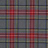 Fabulous Fabrics Schottenkaro Tartan Karo Groß – grau — Meterware ab 0,5m — zum Nähen von Blusen und Hemden, Röcken und Kleidern