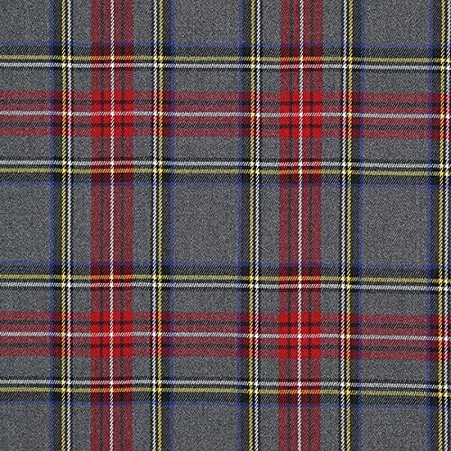 Fabulous Fabrics Schottenkaro Tartan Karo Groß - grau - Meterware ab 0,5m - zum Nähen von Blusen, Röcke und Kleider