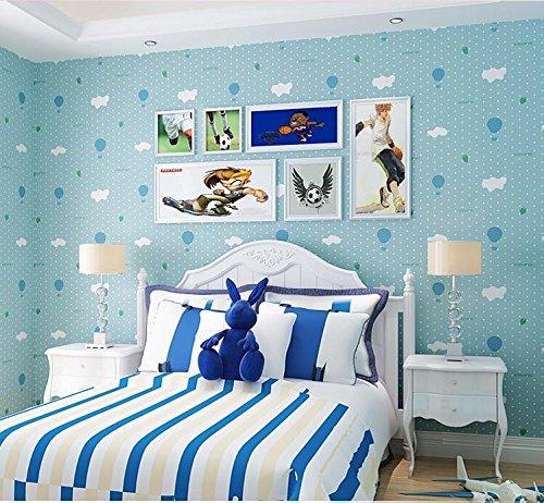 Yosot Schlafzimmer Kinderzimmer Tapete Warme Vlies Männlichen Mädchen Pulver Blau Cartoon Balloon Blau (Pulver Männliche)