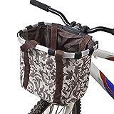 Ducomi Cestino Bicicletta Anteriore Universale per Cani di Piccola e Media Taglia - 34 x 28 x 25 cm - Cestino Bici Portaoggetti Staccabile in Tela Super Resistente e Impermeabile da Manubrio (Beige)