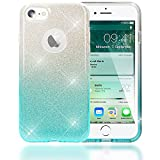 NALIA Handyhülle für iPhone 7, Glitzer Ultra-Slim Silikon-Case Back-Cover Schutz-Hülle, Glitter Farbverlauf Sparkle Handy-Tasche, Dünnes Bling Strass Etui für Apple iP-7 - Silber/Türkis