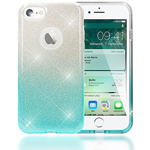 Bling Handy (NALIA Handyhülle kompatibel mit iPhone 7, Glitzer Ultra-Slim Silikon-Case Back-Cover Schutz-Hülle, Glitter Farbverlauf Sparkle Handy-Tasche, Dünnes Bling Strass Smart-Phone Etui - Silber/Türkis)