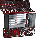 Black Red XXL Edition | Werkzeugwagen - Werkstattwagen - 6 Schubladen gefüllt mit Werkzeug | Bit Sets, Ratschen, Nüsse und vieles mehr...