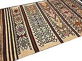 Second Nature Online Yerevan Fair Trade Kilim Teppich, Wolle und Jute, geometrisches Azteken-Streifen-Design, Wolle, Mehrfarbig, 180cm x 270cm