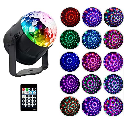 LED Crystal Magic Ball Light 15 Colors Stage Light Rotating Strobe Light Audio aktiviert DJ Light with Remote Control Party Stage Effect Light ()