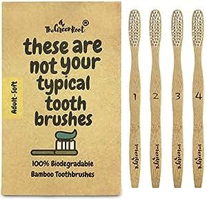 Spazzolini da denti in bambù per adulti con angolazione di 15gradi e setole in nylon morbido senza BPA,100% biologico e biodegradabile, confezione da 4;spazzolino per gengive sensibili