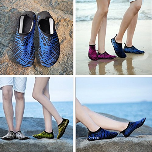 Scarpe da Immersione da Scoglio Scarpette da Bagno Mare Spiaggia Ballo Yoga Materiale Traspirante Elastico Antiscivolo Super Leggere Unisex Scarpe Ragazzi Donna Uomini BLU