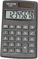 Genie 215 P8-stelliger Taschenrechner, Dual-Power (Solar und Batterie), kompaktes Design, grau
