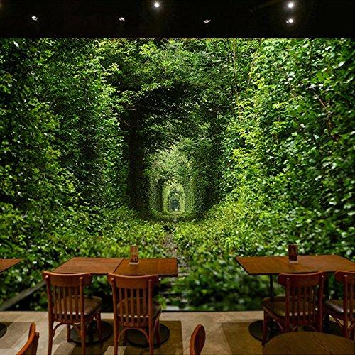 Leegt 3D Tapete Wallpaper Mural Großformatiges Wandgemälde Wallpaper Grünen Tunnel Natur Landschaft 3D Wandbild Wohnzimmer Schlafzimmer Studie Wandverkleidung Tapete 200cmX150cm