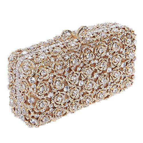 Santimon Clutch Delle Donne Di Rosa Borsellini Diamante Cristallo Boresetta Borse Da Festa di Nozze Sera Con Tracolla Amovibile E Pacco Regaio 7 Colori oro