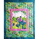 Farbiger Wandbehang für das Kinderzimmer - Pandamotiv - Kinder - Textil Wand Art