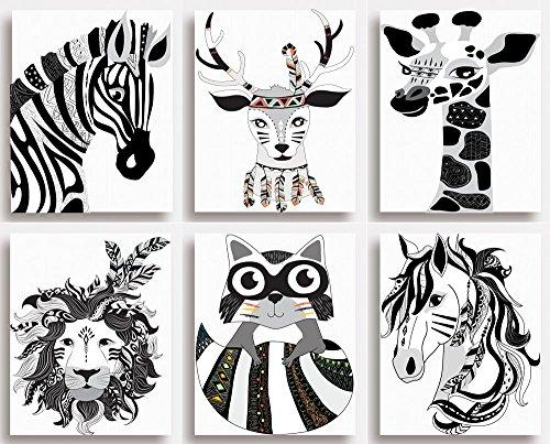 Impressions Lot de 6 – Noir et Blanc Animal Chambre d'enfant Décoration murale pour chambre d'enfant (sans cadres), 203 x 254mm (8\\