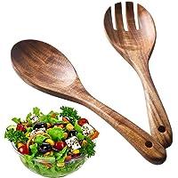 BESTZY 2 Pièces Couverts à Salade en Bois, Ensemble de Fourchette et Cuillère Cuillère en Bbois Réutilisable Ustensiles…