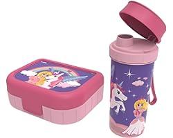 """Rotho, Memory Kids, Lot de 2 boîtes à légumes avec bouteille en plastique (PP) sans BPA, rose avec motif """"princesse"""", 1l + 0,"""