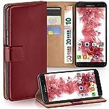 moex Samsung Galaxy S7 Edge | Hülle Dunkel-Rot mit Karten-Fach 360° Book Klapp-Hülle Handytasche Kunst-Leder Handyhülle für Samsung Galaxy S7 Edge Case Flip Cover Schutzhülle Tasche