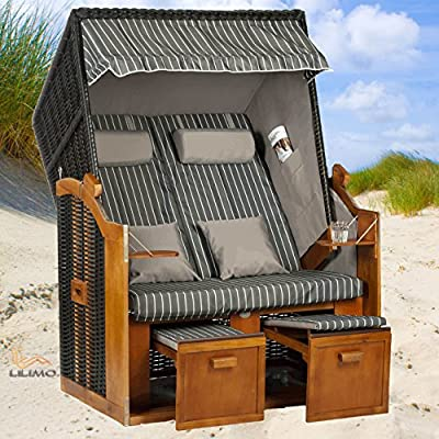 Strandkorb BALTIC-R AOC grau, Geflecht anthrazit, von LILIMO