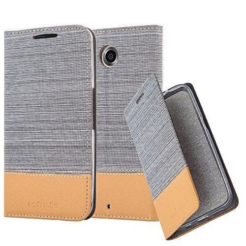 Cadorabo Hülle für Lenovo Google Nexus 6 / 6X - Hülle in HELL GRAU BRAUN – Handyhülle mit Standfunktion und Kartenfach im Stoff Design - Case Cover Schutzhülle Etui Tasche Book