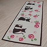 yazi Cute Cat rutschfeste Maschinenwaschbar Teppich Läufer Teppich Fußmatte für Schlafzimmer Innen Home Dekoration 49 x 136 cm
