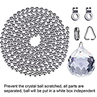 Hestya 2 Sets Clear Crystal Pull Chain Extension with Connector for Ceiling Light Fan Chain, 1 Meter Length Each by Hestya