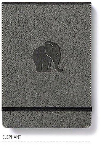 Dingbats* Wildlife A6+ Reporter Hardcover Notizbuch - PU-Leder, Mikroperforiert 100gsm Creme Seiten, Innentasche, Elastisch (Gepunktet, Grauer Elefant)