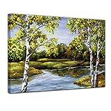 Kunstdruck - Birken am Ufer - Bild auf Leinwand 80 x 60 cm einteilig - Leinwandbilder - Bilder als Leinwanddruck - Landschaften - Malerei - See in Einem Birkenwald