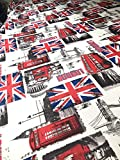 Leinen Union Jack England Polsterstoff bedruckt Retro Sofa London Canvas