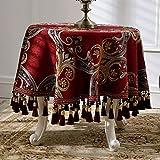 LSJT Chenille Runde Tischdecke Europäischen Hause Tischdecke Runde Tischdecke Hängende Ohr Couchtisch Tuch Runde Tischdecke (größe : D160cm)