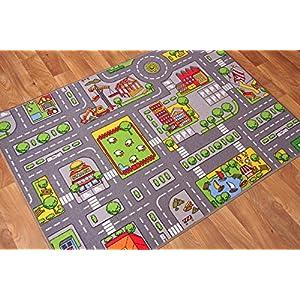 The Rug House Kinder-Spielteppich Straßen-Matte Stadt Verkehr Straßen 80cm x 120cm (2ft 7″ x 3ft 11″)