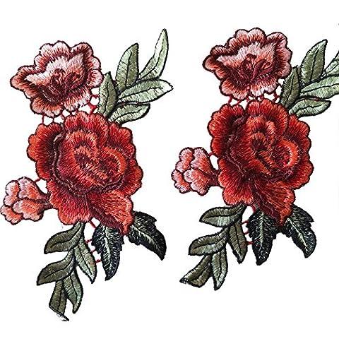 2Pcs / Set Chinois Peony Flower Patch Floral Brodé Applique Appliqués DIY Sew on For Clothing Hat Decorariton