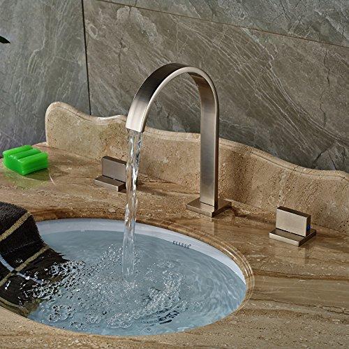 Deck TougMoo Monte maniglia quadrata bacino diffusa rubinetti miscelatori nichel spazzolato 3 fori di acqua calda e fredda rubinetto