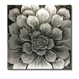 WESIATOR  Silver Canvas Wall Art Modern Silver Flower Pictures for Living Room Bedroom Bathroom Decoration, Large Hand Painted Black Grey Floral Oil Painting, Ready to Hang (75x75cm)