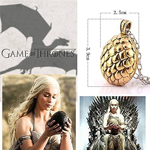- Bijou Game of Thrones , Khaleesi Gold Dragon Egg Pendant, Egg: 3.9cm x 2.5cm Chain : 52cm+5cm extender