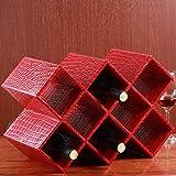 Tisch stehend Leder Wein racks-stores 5Flasche Wein Halter Bar Bier Glas Lagerung Organizer 41x27.5x20cm rot, kroko-optik