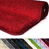 Badematte | Kuscheliger Hochflor | Rutschfester Badvorleger | Viele Größen | Zum Set Kombinierbar | Öko-Tex 100 Zertifiziert | 60x100 cm | Berry Red (Rot)