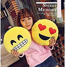 Balaji Fab CGB Emoji Cushions Pillow Smiley Gift for Girlfriend Soft Round Wink Kiss Heart Love Set of 2 12 x 12 inches 30 x 30 cm