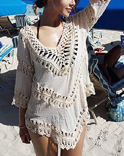 Boho Damen Strandponcho Sommer Überwurf Kaftan Strandkleid Bikini Cover Up Beige