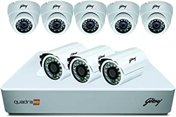 Godrej Security Solutions See Thru 720P 8 Channel 5 Dome 3 Bullet Cameras Full CCTV Camera Kit (White)