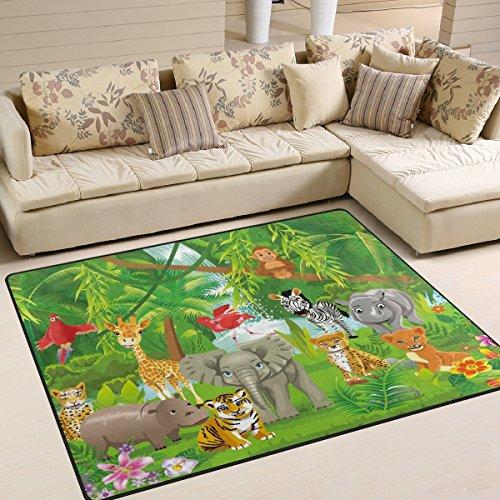 dschungel teppich naanle Cute Bereich Teppich, Tiere, Dschungel Tiger Löwe Elefant Giraffe Zebra mit Bereich Teppich Matte für Esszimmer, Dorm Wohnzimmer Schlafzimmer-Deko 5'X7' multi