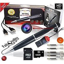 FabQuality Cámara Oculta Premium Spy Pen resolución 1080p. Incluye tarjeta SD 16GB y 5 rellenos de tinta. Vídeo de alta definición, batería mejorada, diseño ejecutivo y multifunción DVR. El regalo perfecto