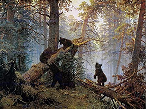 LANDSCAPE ANIMAL BEAR SHISHKIN PINE FOREST MORNING POSTER PRINT