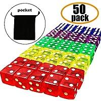 Juego de Dados - 5 colores Dados de juego con bolsas para Aprendizaje de Matemáticas, Casino, Juegos, Regalos para fiestas y Regalos (50 piezas)