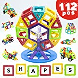 Magnetic Building Blocks 112 Piece - Set by LIVEWELL. Magnet Shapes, HUGE 112 Pcs! Educational Toys for Boys & Girls, Toddlers & Up. Creative Toy Uses Magnets & Tiles for Construction.