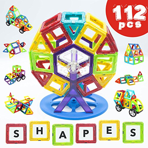 Magnetic Building Blocks STEM Toys - 112 Piece Set - Construction Toys with a HUGE 112 Pcs! Educational Toys for Boys & Girls, Toddlers & Up. Creative Toy Uses Magnets & Tiles for Big Building Fun!