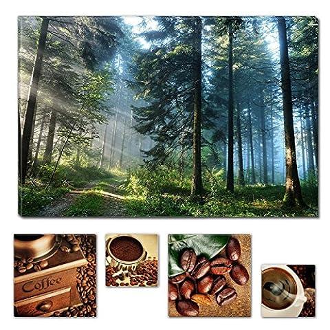 Lumière Eco Bundle à couper le Souffle sur toile Route dans la forêt 60x 90cm pour décoration intérieure et Lovely de cuisine Coffee Collage Lot de 4moderne encadrés