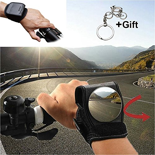 Bike Mirrors, West Biking Bicycle Rear View Mirror for Cyclists Safety Mountain Road Bike Riding Cycling Accessories, Motorbike Handlebar Reflector Wristband Wrist Mirror for Commuter Kid Gift Gadget