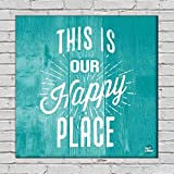"""Nutcase Framed Home Wall Art Decor Hanging Block Non-Fading Digital Painting for Living Room, Bedroom,Desk & Office - 9""""x9""""(Screws Included) - This is Our Happy Place"""