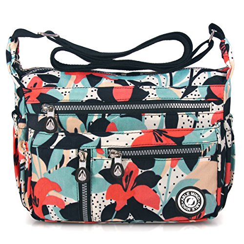 ABLE Waterproof Shoulder Bag Casual Handbag Messenger bag Crossbody Bags Multi-functional pocket design: can plug flat, book, wallet, etc (4-Calla lily flower)