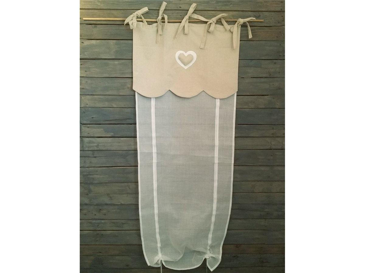 Simla - Tenda a pacchetto con velo e festone in lino, con cuore ...