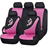 Flying Banner Mesh Full Set Universal Fit Butterfly Embroidery Car Seat Covers with 5mm Composit Sponge,Airbag Compatiable (P