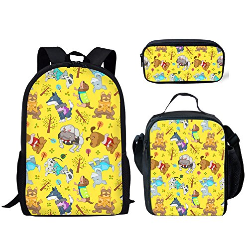 5c35f0f17e80 Coloranimal K-CC233C+G+K2, Unisex Kinder Schulranzen Dog Backpack+lunch  Bag+pencil Case Einheitsgröße